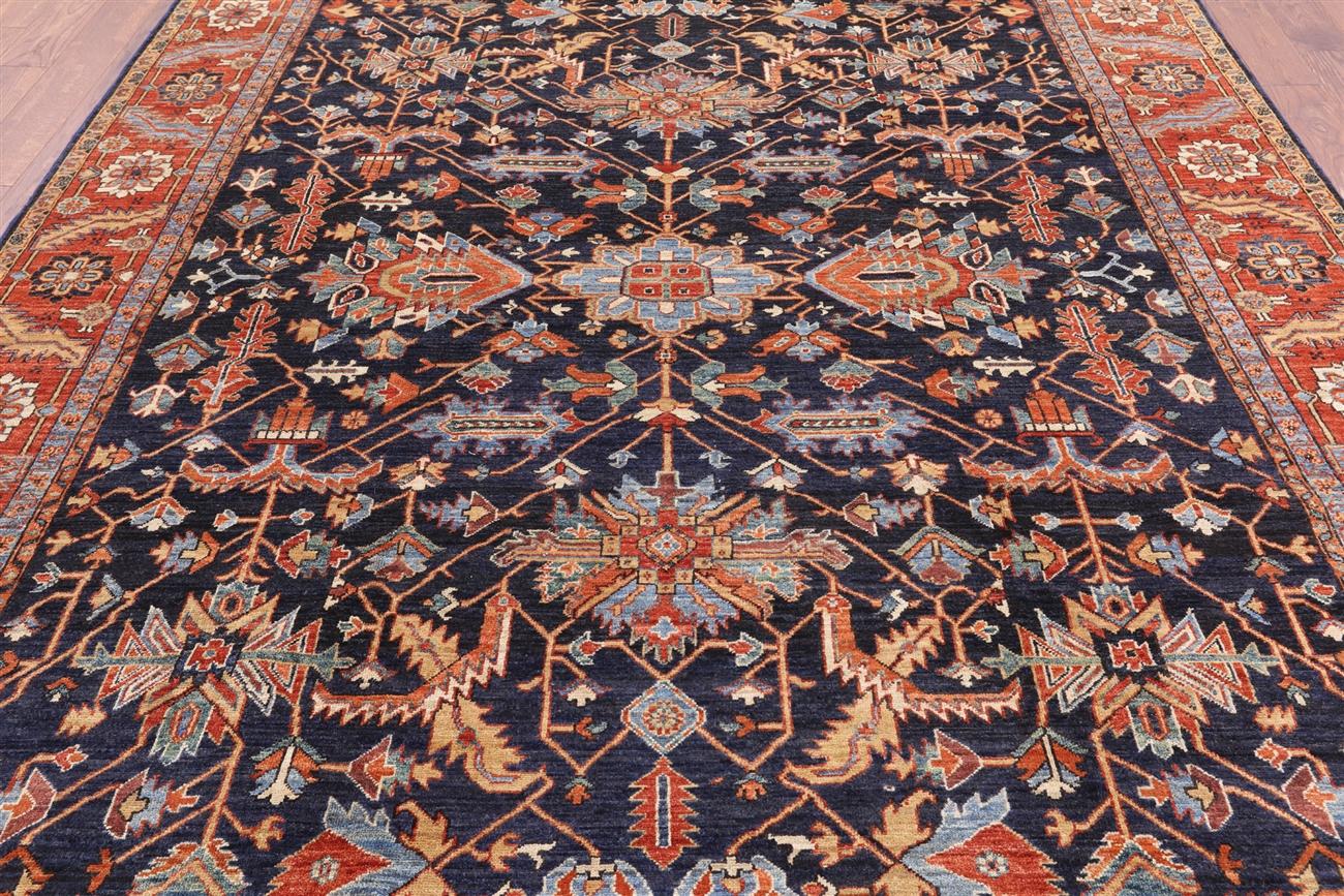 Fine serapi 8 x 11 navy blue oriental rug mc408