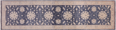 Traditional Blue Chobi Peshawar Wool Runner