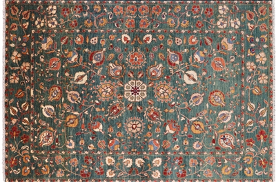 Oriental William Morris Hand Knotted Wool Area Rug