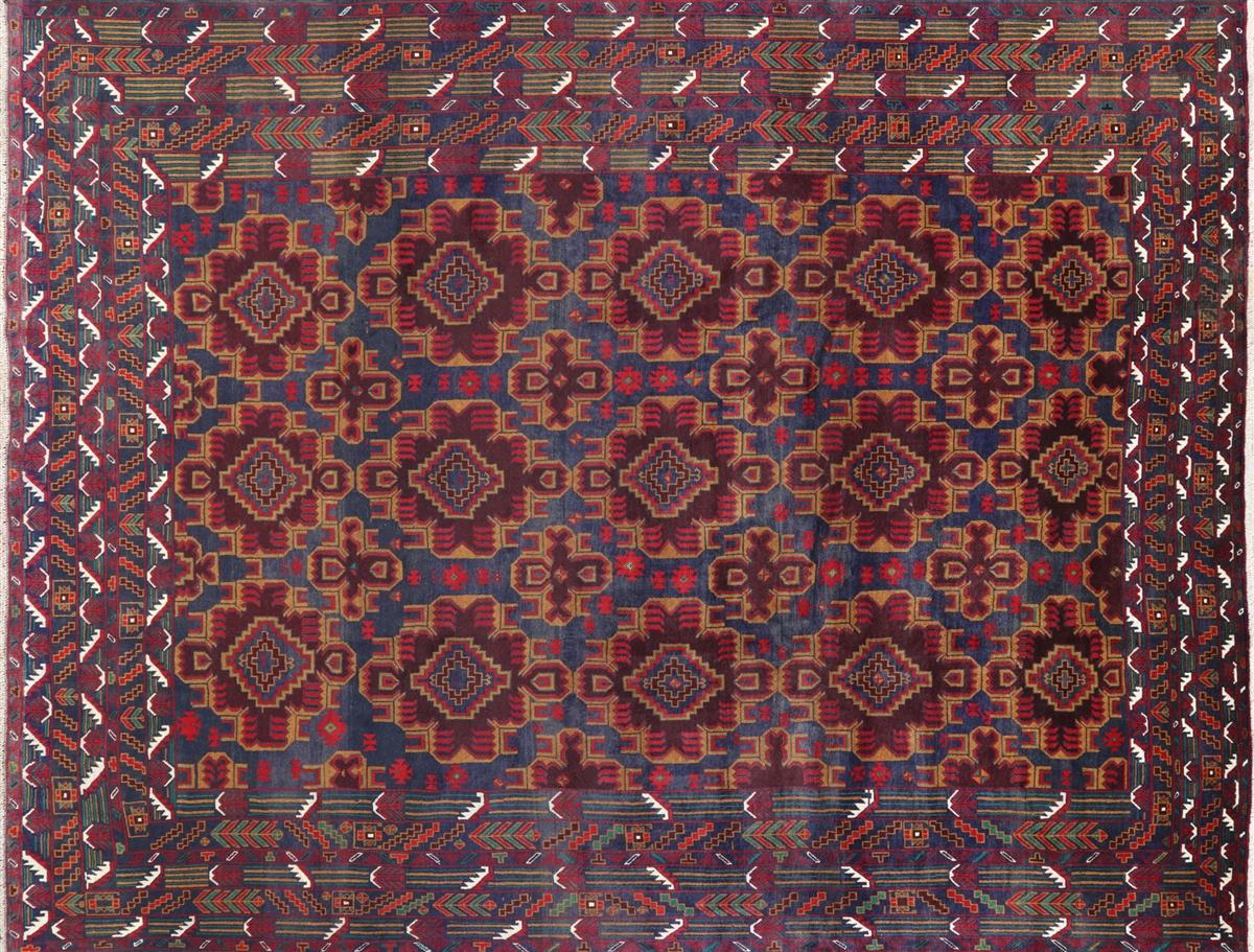 Persian 10 X 13 Tribal Collection Afghan Wool Rug P1324