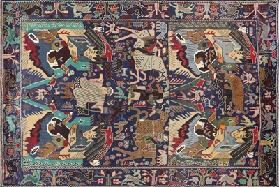 Persian Tribal Village Hand Knotted Wool on Wool Rug