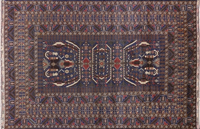 Tribal Persian Navy Blue Wool Area Rug