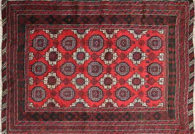 Red Geometric Persian Baluch Oriental Rug