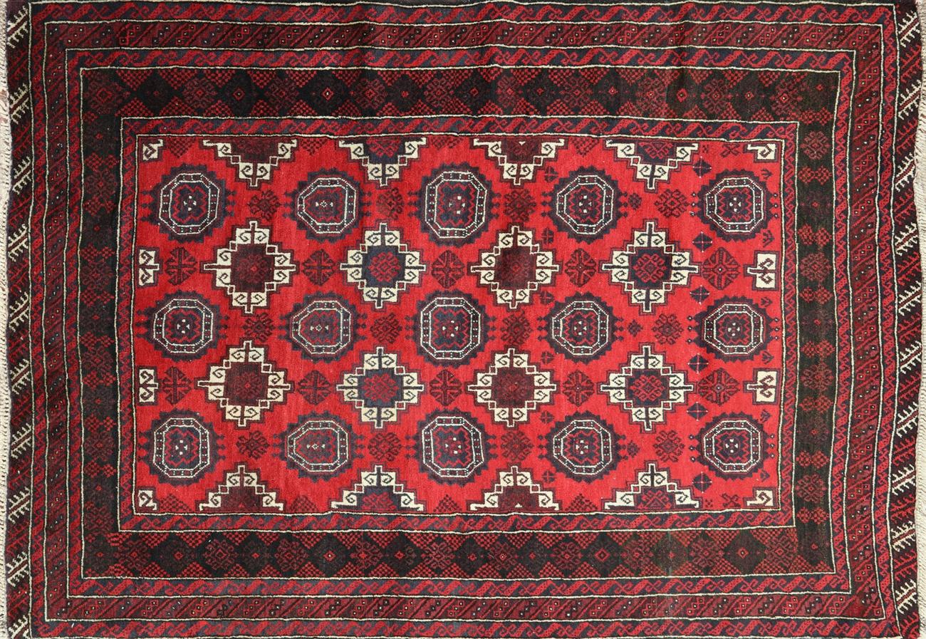 5 x 7 red geometric persian baluch oriental rug p2938