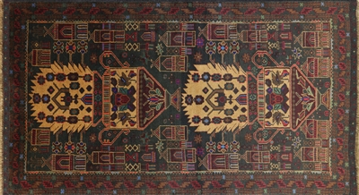Wool on Wool Persian Oriental Baluch Area Rug
