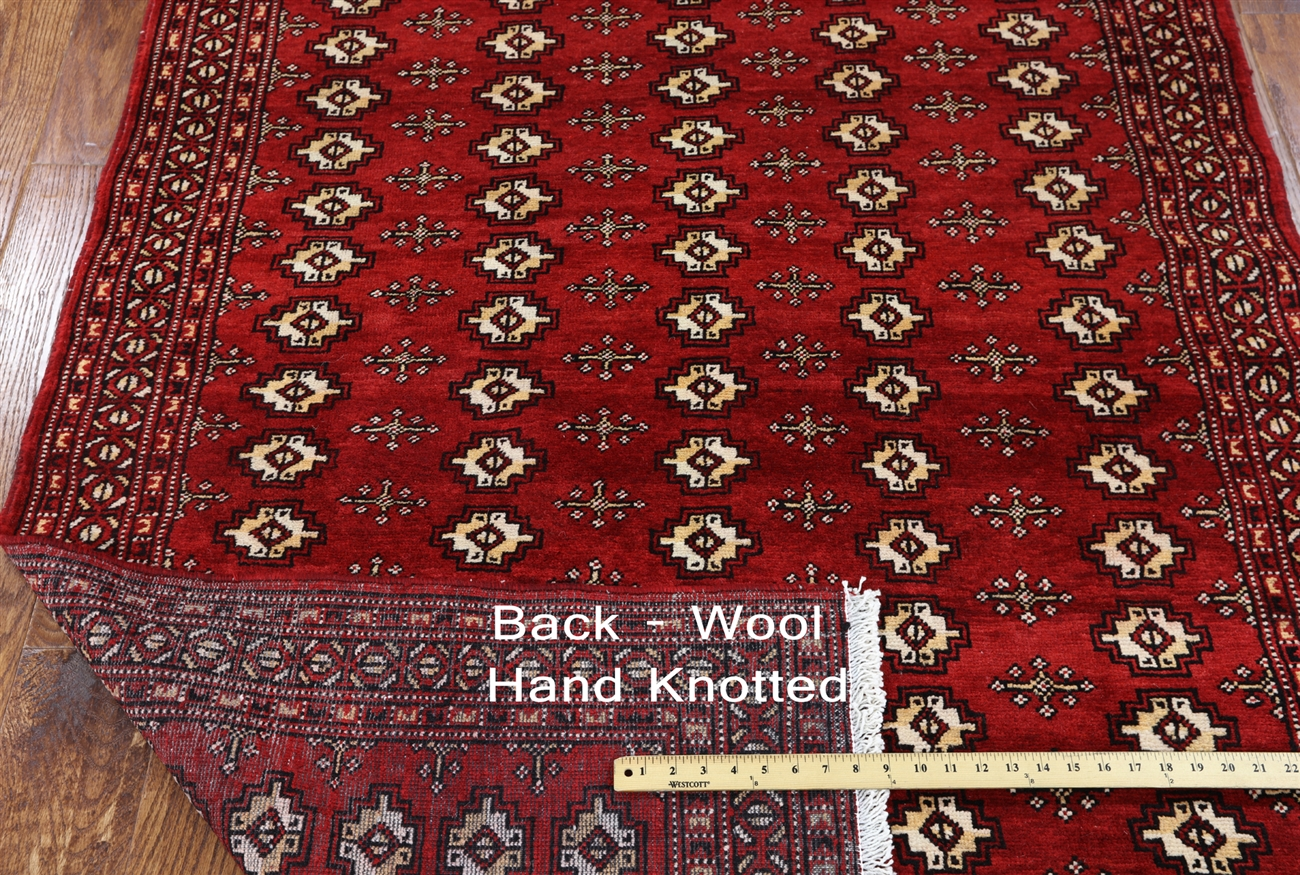 4 X 9 Hand Knotted Persian Bokhara Rug