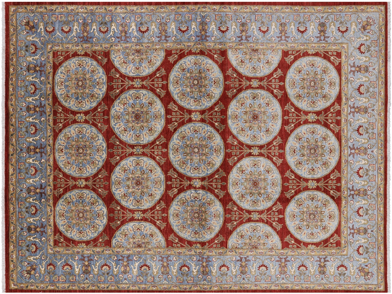 Oriental Peshawar Hand Knotted Wool Area Rug 7 X 9