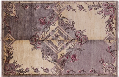 Modern Handmade Art Deco Wool Area Rug