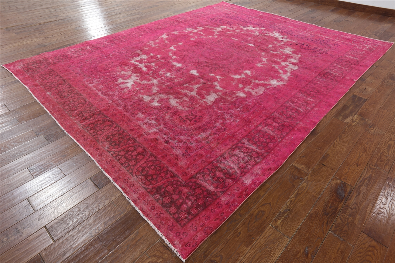 Pink Tabriz Overdyed Handmade 10 X 13 Wool Area Rug