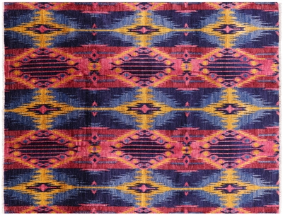 Hand Knotted Ikat Area Rug