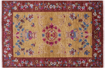 Art Deco Hand Knotted Oriental Area Rug