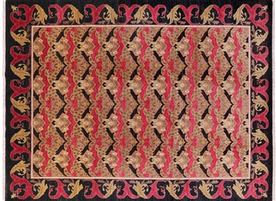 Hand Knotted Art Deco Morris Design Rug