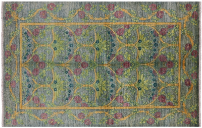 Arts & Crafts William Morris Design Oriental Hand Knotted Area Rug