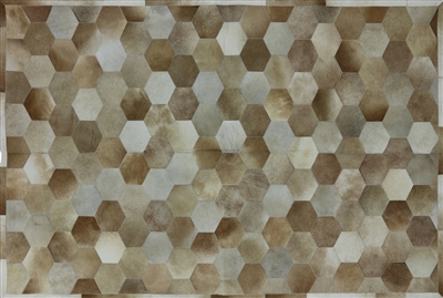Leather Cowhide Geometric Patchwork Area Rug