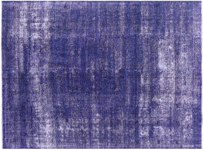 Hand Knotted Blue Persian Overdyed Rug