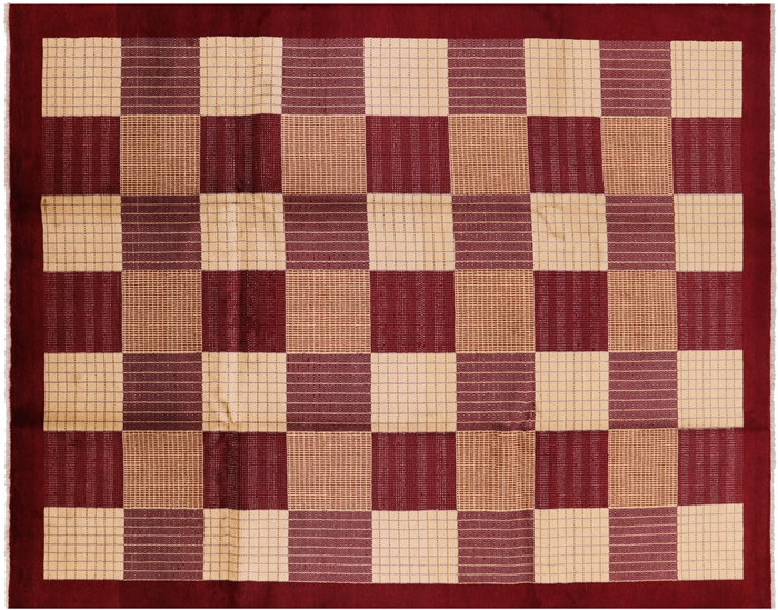 Gabbeh Checkered Design Hand Knotted Area Rug