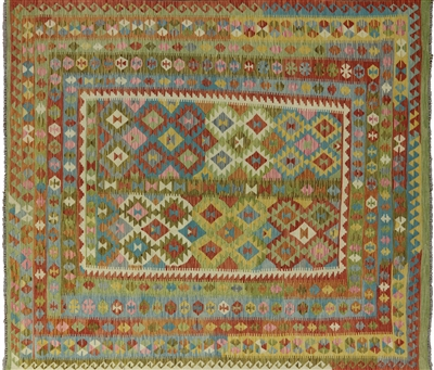 Flat Weave Reversible Multi-color Kilim Area Rug