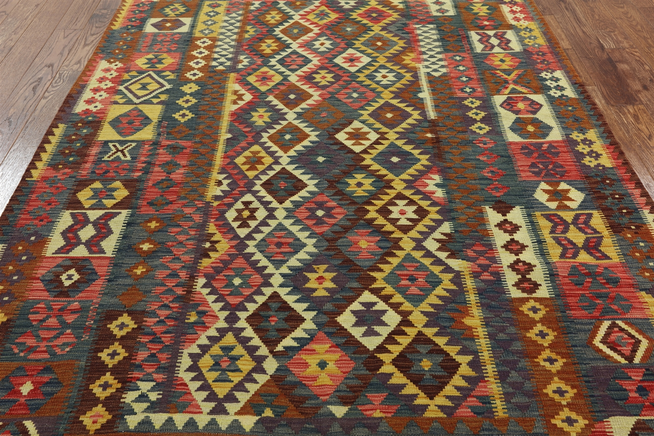 7 X 10 Tribal Kilim Flat Weave Area Rug