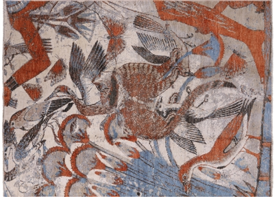Art's & Crafts Hand Knotted Exotic Birds Area Rug