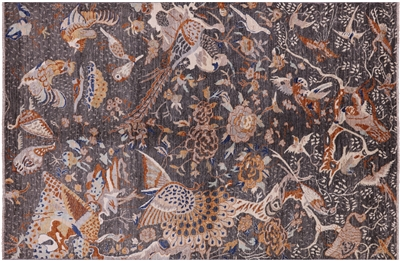 Hand Knotted Fine Serapi Exotic Birds Design Rug