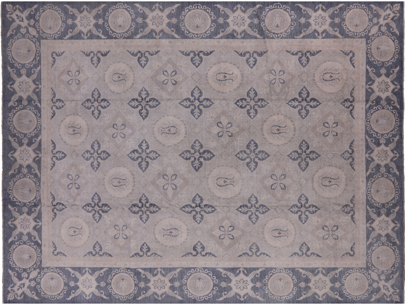 White Wash 12 X 16 Persian Hand Knotted Area Rug