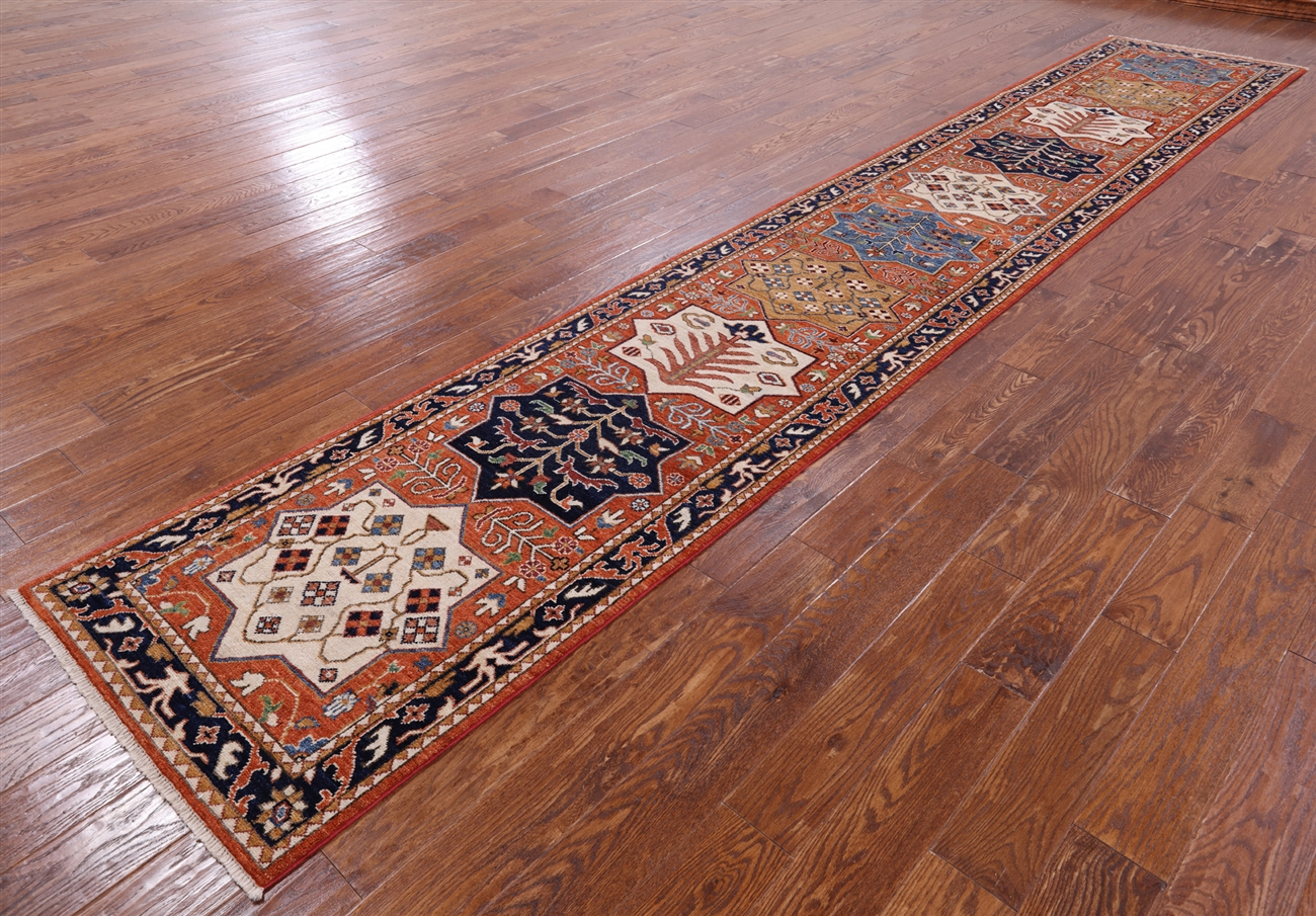 3 X 16 Runner Hand Knotted Fine Serapi Rug