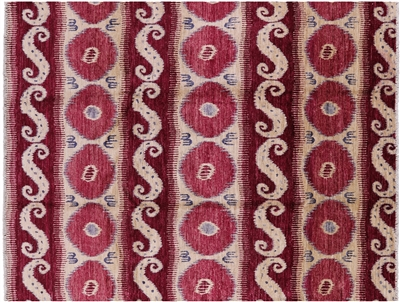Ikat Hand-Knotted Wool Area Rug