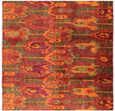 Square Ikat Hand Knotted Rug