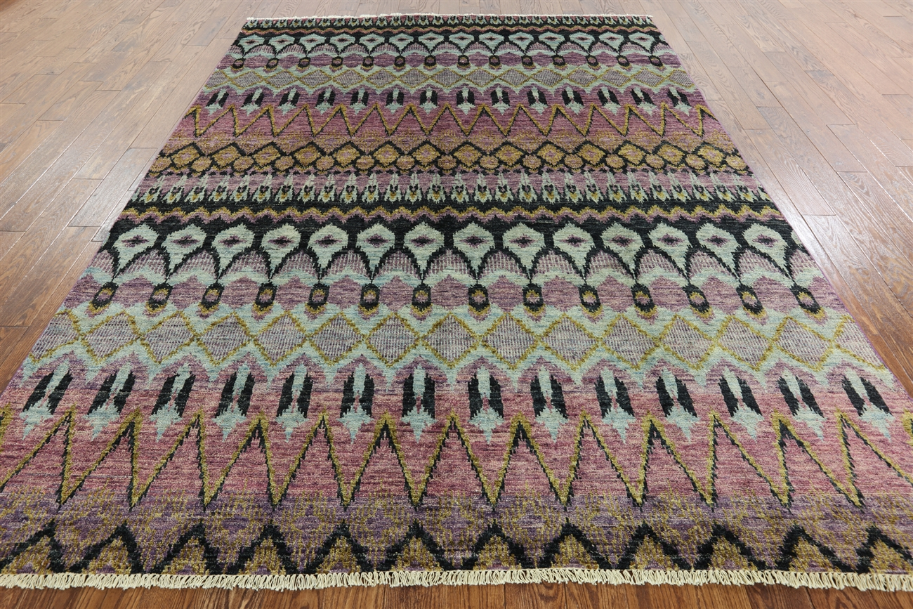 x  oriental hand knotted ikat area rug -