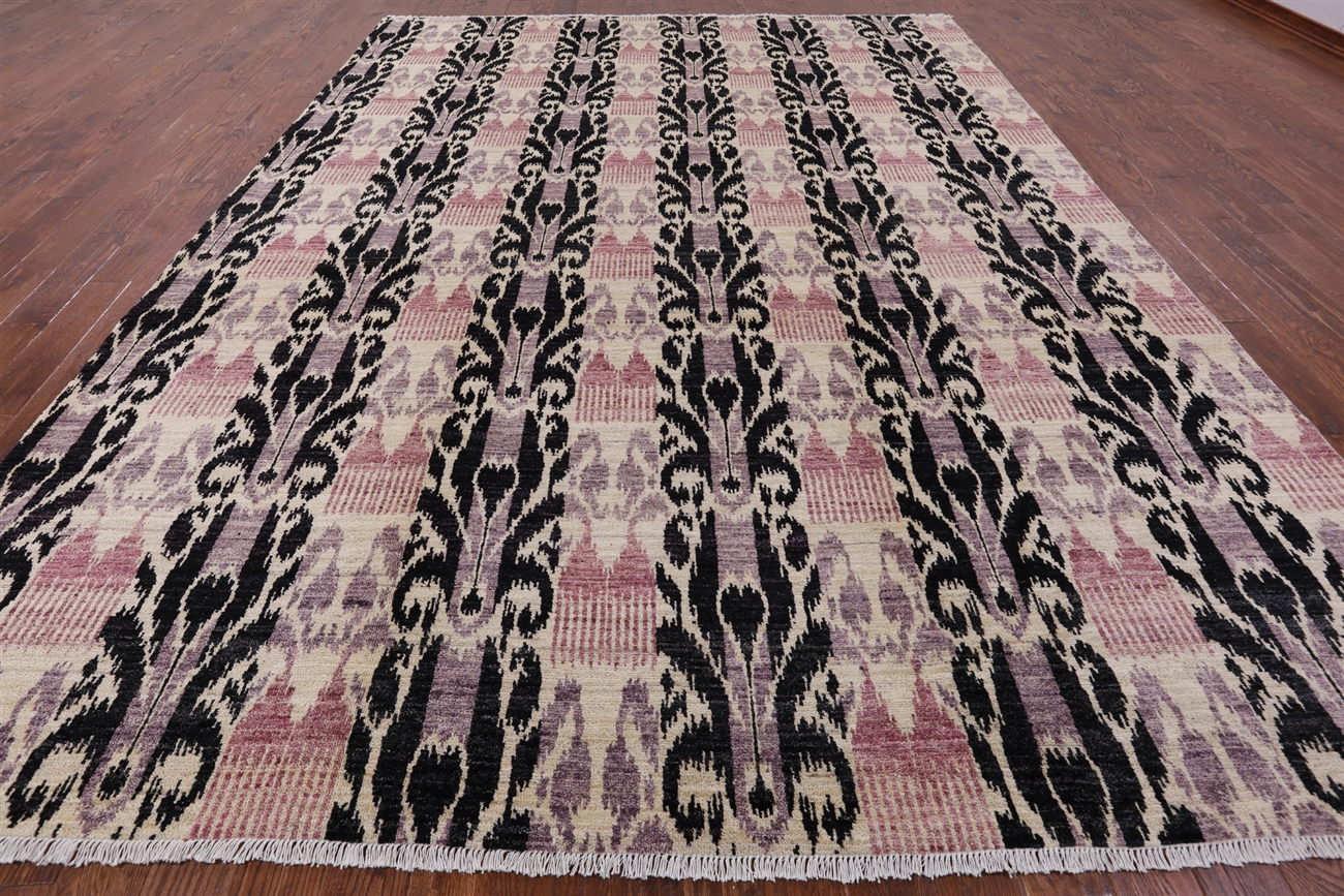 Ikat Hand Knotted Area Rug 9 10 X 14 1