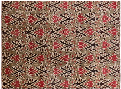 Modern Arts and Crafts Hand Knotted Area Rug
