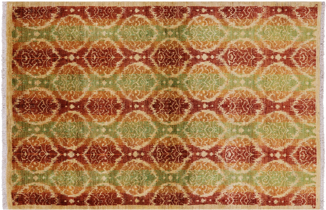 Arts And Crafts Ikat Hand Knotted Area Rug