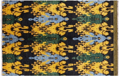 Ikat Hand Knotted Wool Area Rug