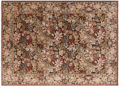Modern Arts and Crafts Hand Knotted Flower Rug