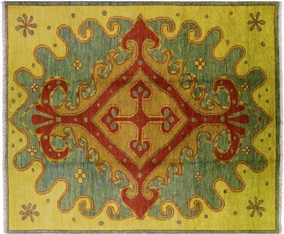 Oriental Modern Moroccan Hand Knotted Wool Area Rug