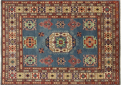Blue Hand Knotted Geometric Kazak Area Rug