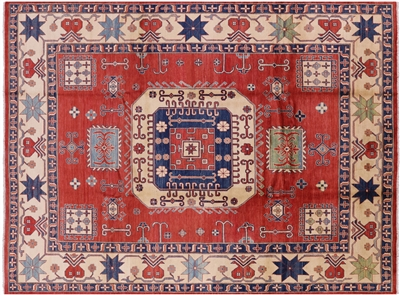 Geometric Wool Hand Knotted Kazak Area Rug