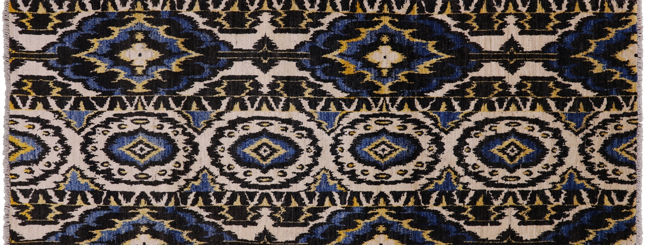 Runner Hand Knotted Ikat Rug 4 X 10