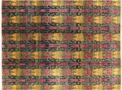 Hand Knotted Ikat Wool Area Rug