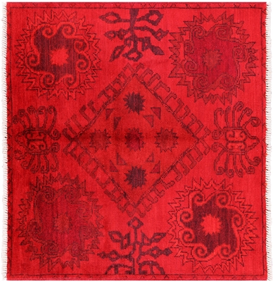 Square Hand Knotted Overdyed Kaitag Rug