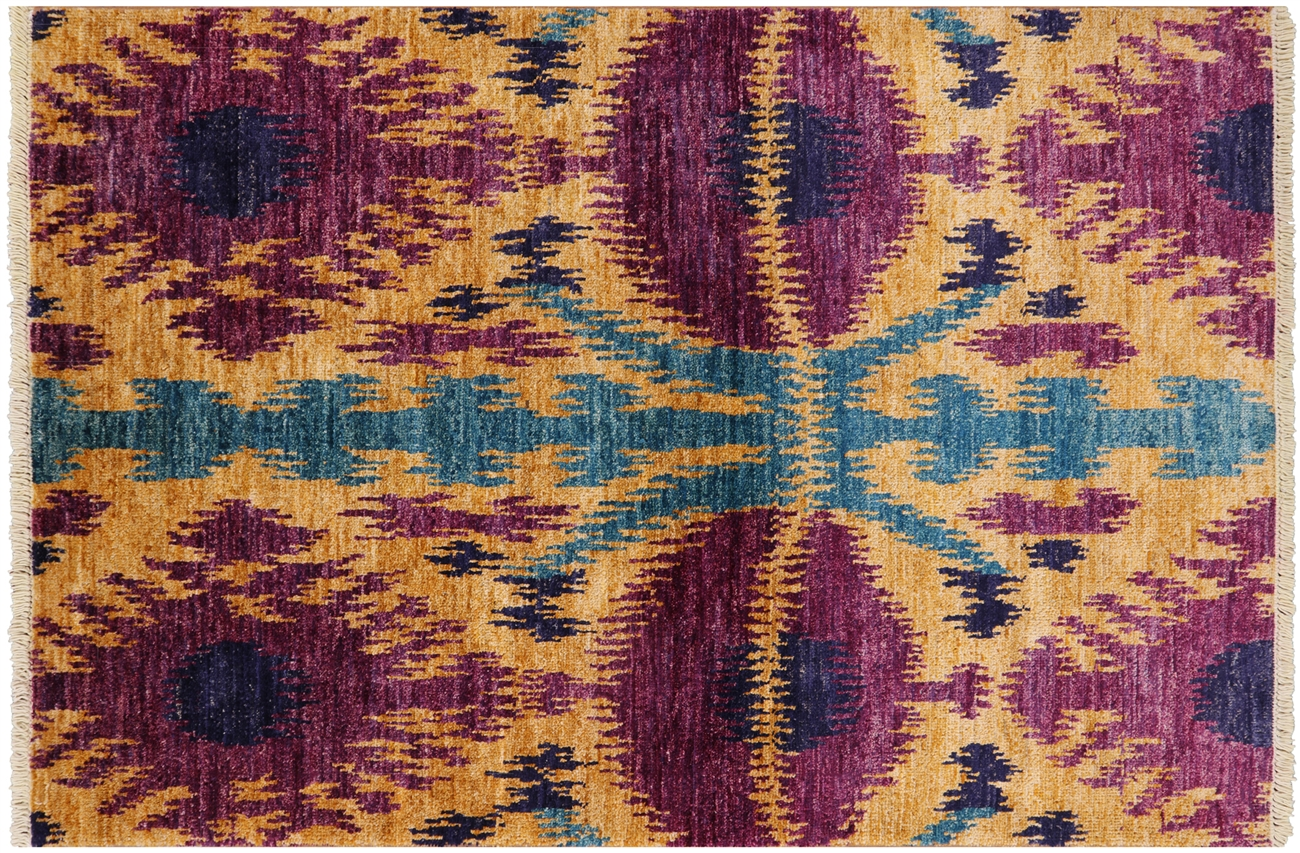 4 X 6 Wool Hand Knotted Ikat Rug
