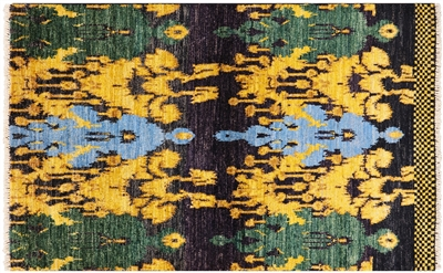 Hand Knotted Ikat Rug