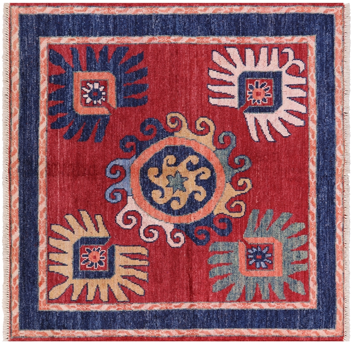 6 Square Arts Amp Crafts Hand Knotted Area Rug