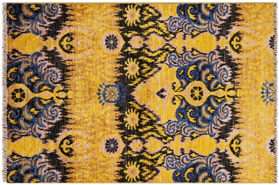 Hand-Knotted Wool Ikat Oriental Area Rug