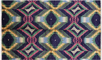 Oriental Hand Knotted Ikat Area Rug