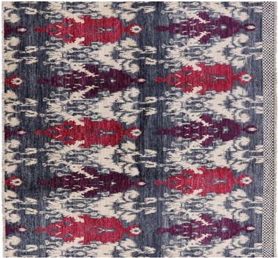Square Wool Ikat Rug