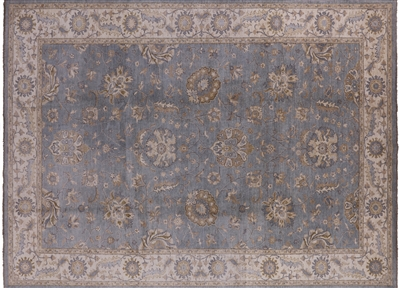 Hand-Knotted Wool Blue Peshawar Area Rug