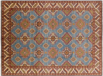 Hand Knotted Blue Kazak Rug