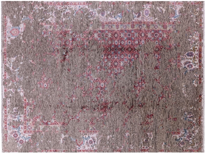 Persian Contemporary Hand Knotted Wool & Silk Rug