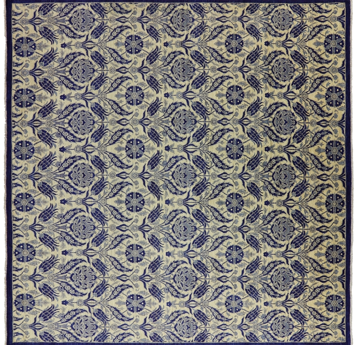 William Morris Design Square Oriental Wool Suzani Rug